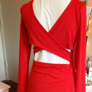 Fitted Wow Party Red Midi Dress - 0086